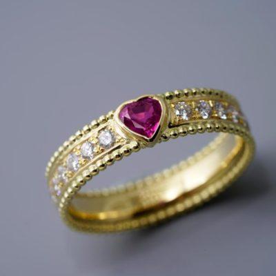 Ring Brillant Rubin Vintage ausgefallen Anfertigung