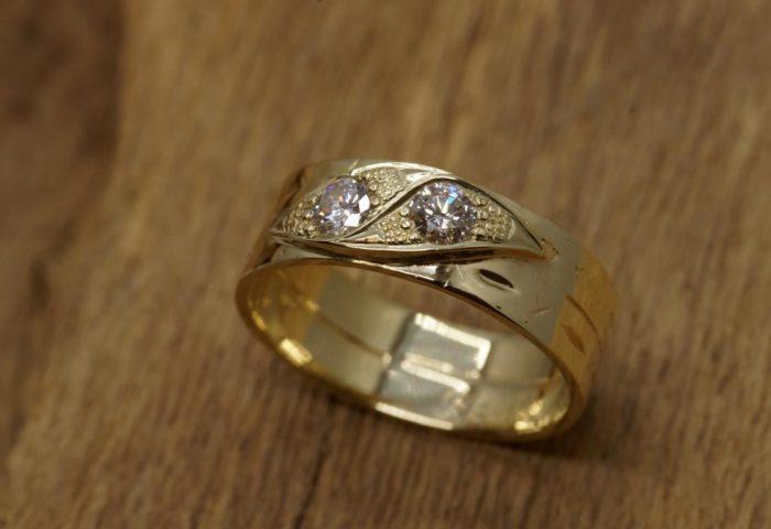 Umarbeitung12 Witwenring mit Element und Diamant Goldschmiede Mehnert